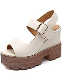 Meng Wei Shop Tacchi alti Sandali con zeppa Scarpe estive nuove Roma donna  Scarpe con tacco alto con… 6488dfa2917