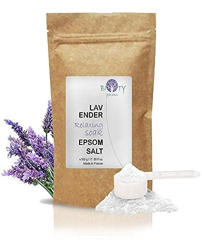 biOty garden Sels Epsom Relaxantes à la Lavande Organique 500g Bain de Pieds, Bain et Exfoliant