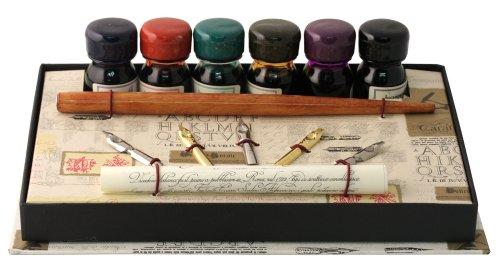 Coles Kalligraphie-Set mit Füller/ 5 Schreibfedern/ 6 Tintenfässer Holz