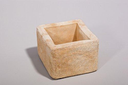 Blumenkübel quadratisch - Handarbeit in Sandsteinoptik - 13 x 13 x 9,5 cm
