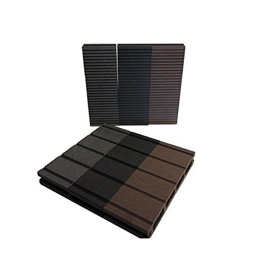 WPC Terrassendielen Basic Line - Komplett-Set Hellgrau | Qualitätsmuster Holz-Brett Dielen | Boden-Fliesen + Unterkonstruktion & Clips | Balkon Boden-Belag + rutschfest + witterungsbeständig