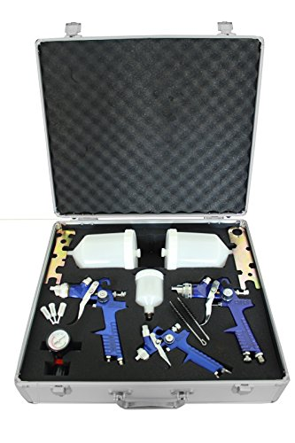 Preisvergleich Produktbild 3x HVLP Spraypistole Lackierpistole Set Druckminderer Koffer Spritzpistole Luft