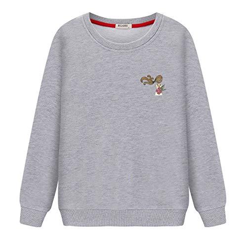 Lxj sweater felpe con cappuccio felpe 3d-pullover primavera e autunno nuovo maglione pullover femminile di grandi dimensioni selvatici bf cappotto corto cappotto sottile, s, grigio