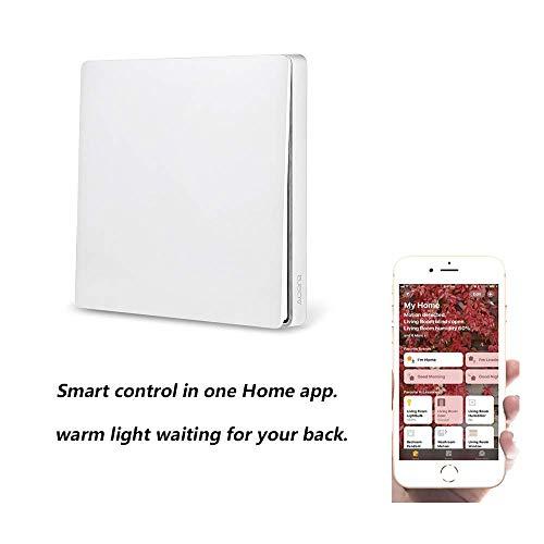 Aqara Wall Switch,Aqara WiFi Smart Lichtschalter ZiGBee Version, WiFi 2,4 GHz Wireless Remote Control Home Kit von Mi Home App, Wandschalter Intelligente Türklingel-Lichtschalter (Single Key) -