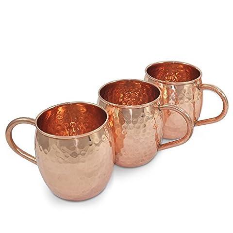 Dungri Inde cuivre massif Tasse Barrel pour Moscou Mules - 18 oz / 550 ml - 100% cuivre martelé pure Tasse Vodka - épais - Pas de doublure, Lot de