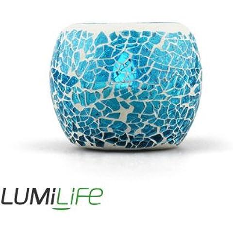 LUMiLife Candela a LED che cambiano colore vetro mosaico–Tea Light–Candela senza fiamma–Bambini Animal Friendly–spedito dal Regno Unito