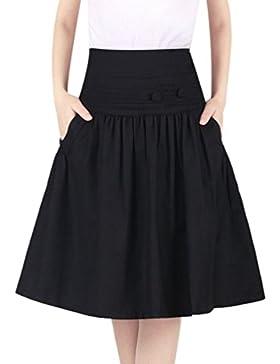ZhiYuanAN Mujer A Línea Falda Con Dos Bolsillos Talla Grande Falda Plisada De Vuelo Salvaje Casual Midi Acampanadas...