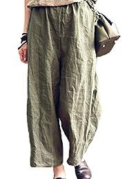 Damen Mode Hohe Taille Weites Bein Beiläufig Bequem Weiche Langes Hosen Oversize