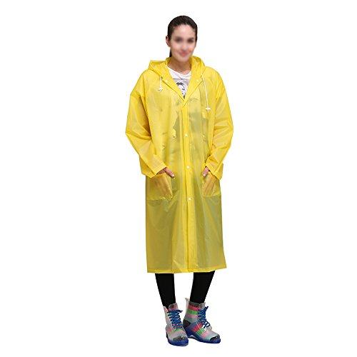 Damen Regen-mantel Yellow (ZXQZ Regenmantel Adult Transparent Regenmantel Outdoor Trekking Regenmantel Plus Dicke Wasserdichte Portable Long Regen Poncho Multi-color Optional regenjacken ( Farbe : Gelb , größe : M ))