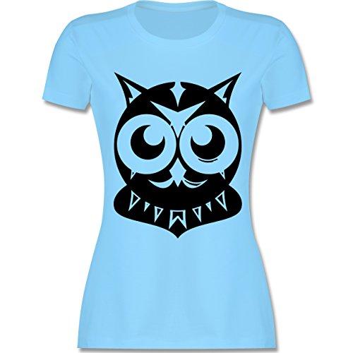 Eulen, Füchse & Co. - Eule groß - tailliertes Premium T-Shirt mit Rundhalsausschnitt für Damen Hellblau