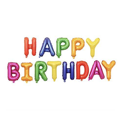fParty Happy Birthday Balloons Banner, Aluminium-Folien-Ballone Alphabet Ballons für Geburtstags-Party-Dekoration