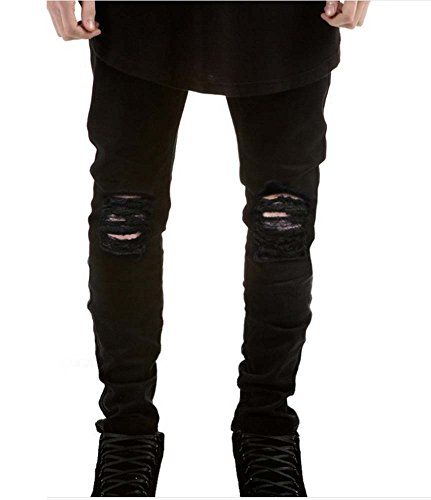 Hellomiko Männer Hosen, Herren Stretchy Zerrissene Dünne Biker Jeans Zerstört Taped Slim Fit Jeans (Schwarz & Blau) Straight Leg Zip Fly Jeans
