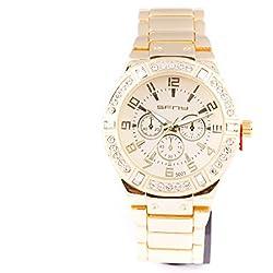 Herren Armbanduhr vergoldet Quarz Rundes Iced Out Lünette Zifferblatt Link Watchstrap