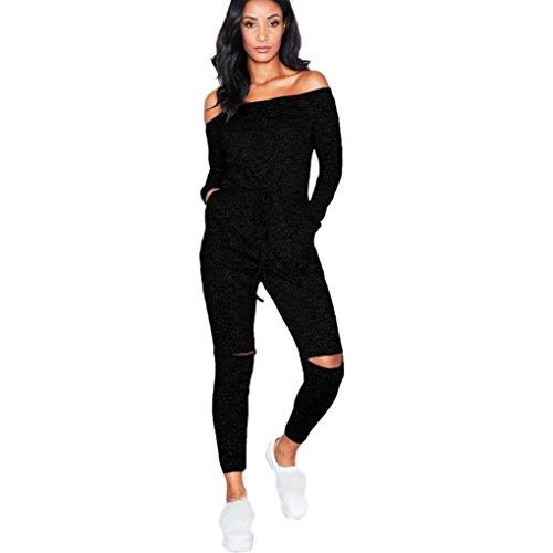 Jumpsuits Xxl (Jumpsuit Damen Dasongff Mode Damen Overall Langarm Clubwear Playsuit Bodycon Party Jumpsuit Schulterfrei Spielanzug Hosenanzug Lange Hosen mit Loch (2XL, Schwarz))