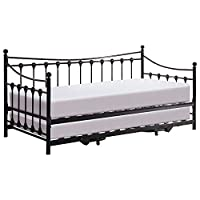 Memphis 3ft Single Black Metal Day Bed With Pull-Out Trundle Set High Quality