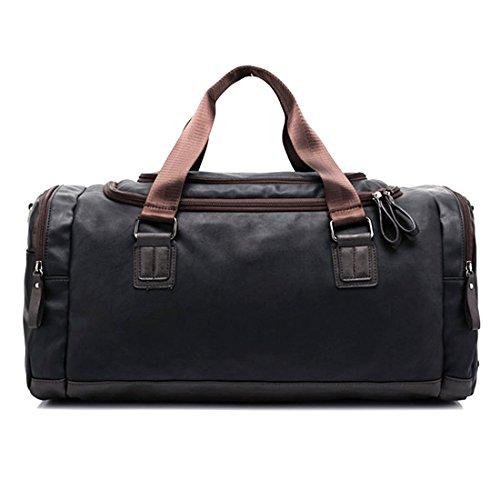 Borsoni di grande capacità, itechor uomo di cuoio dell'unità duffel tote handbag retro palestra fodero sport - caffe nero