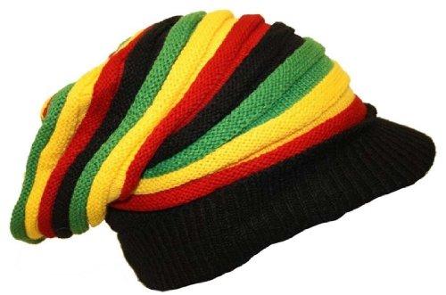 Bob Marley Style Hat Strickmütze Beanie Rasta Reggae Hat lang mit Peak Sack, der Slouch Tüte ()