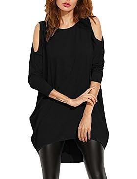Damen Asymmetrisch Schulterfrei Langarm Dünne Batwing Oversize Oberteile Shirts Tops Minikleid