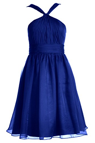 MACloth Women Knotted Chiffon Short Bridesmaid Dress Formal Cocktail Party Gown Royal Blue