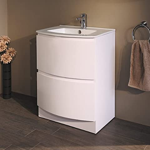 600 Vanity Unit Basin with Cabinet White (+5 Styles of 600 Vanity Units) ; Storage Cabinets with Inset Basins ; Contemporary Soft Close Gloss Designer Floor Standing Sinks ; Modern Curved Bow Front Bathroom Sink and Drawers