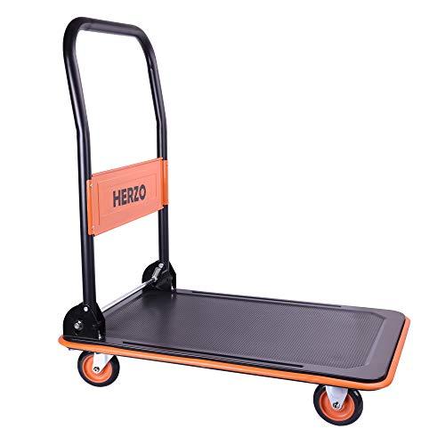 Herzo carrello pieghevole porta pacchi porta sacchi in acciaio e ferro 2 ruote pneumatiche (max. postata 150 kg)
