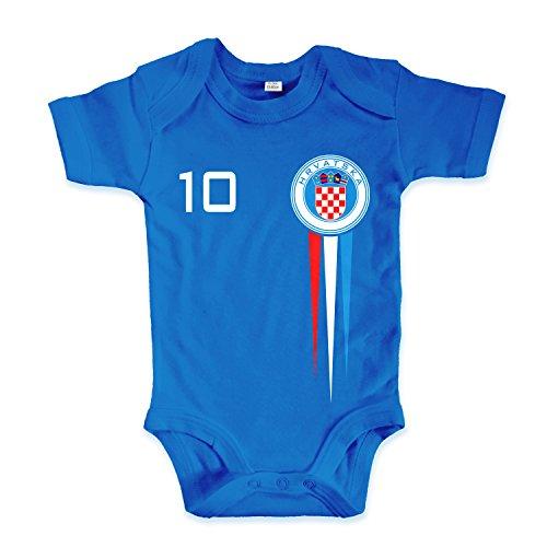 net-shirts Organic Baby Body mit Hrvatska Croatia Kroatien Trikot Aufdruck Fußball Fan WM EM Strampler - Spielernummer wählbar, Größe 06-12 Monate-Spielernummer 08, blau