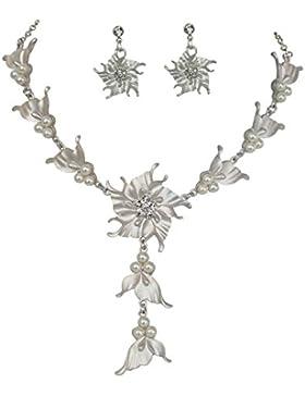Trachtenschmuck Dirndl Collier Set - Kette und Ohrringe (Ohrstecker) - matt silberfarben - Crystal klare Kristalle...