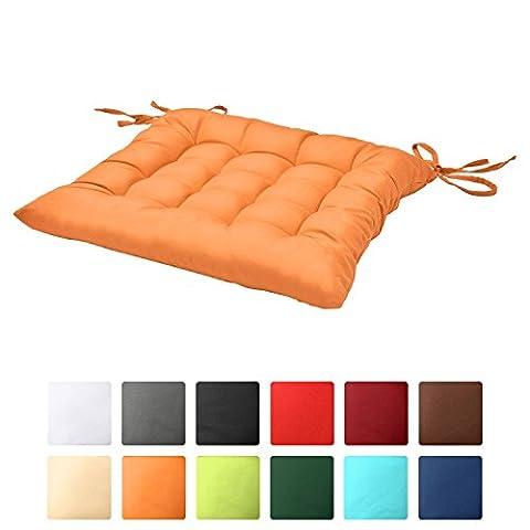 Beautissu Stuhlkissen Lea 40x40x5 cm Sitzkissen für Stühle im Indoor & Outdoor-Bereich mit dicker Polsterung Orange