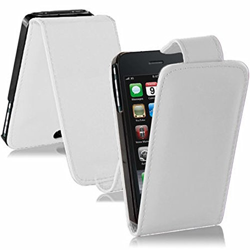 Vcomp Schutzhülle/Flip Case für Apple iPhone 3G/3GS, PU-Leder, Stoff, mit Standfunktion weiß