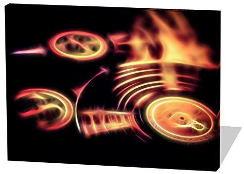 Vinyl Platten, Light Effect, schönes und hochwertiges Leinwandbild zum Aufhängen in XXL - 60cm x 40cm, echter Holzrahmen, effektiver Pigmentdruck, modernes Design für Ihr Büro oder Zimmer