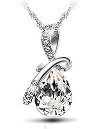 Celebrity Jewellery Swarovski Elements Verre Cristal Goutte d\u0027eau Baisse  Forme Pendentif Collier Femme Bijoux