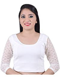 c8ab002d163 Areum White Round Neck Princess cut 3/4th Decorative Net Sleeves Cotton  Lycra Stretchable Readymade Saree Blouse Crop Top (Fits Bust…