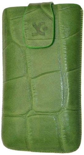 Original Suncase Echt Ledertasche für Samsung S8600 Wave 3 in croco-grün