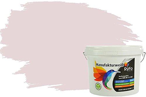 RyFo Colors Bunte Wandfarbe Manufakturweiß Rose Hell 3l - weitere Rot Farbtöne und Größen erhältlich, Deckkraft Klasse 1, Nassabrieb Klasse 1