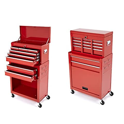 Trueshopping Tool Cabinet Steel Roller Chest 2 Piece Rollcab Storage