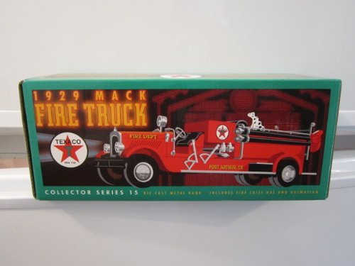 texaco-1929-mack-fire-truck-collector-series-die-cast-metal-bank-includes-fire-chif-hat-and-dalmatia