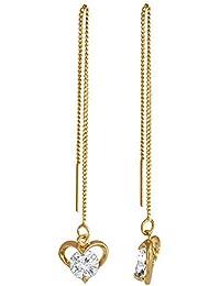 Spargz Gold Plated Threader Dangle Earrings Long Chain Heart Drop Earrings For Women AIER 1011