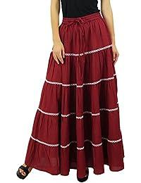 Bimba femmes longues Flaired coton Jupe Boho Maxi Bottoms taille élastique  Indian Vêtements f27c78ee2ab