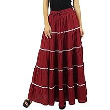 Bimba femmes longues Flaired coton Jupe Boho Maxi Bottoms taille élastique  Indian Vêtements 107ed6f971e