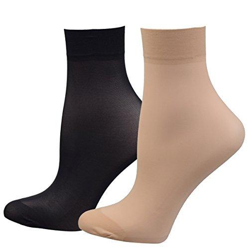 FITU Damen 10-12 paare nylon knöchelhoch strumpfhose strumpfwaren socken einheitsgröße 5 beige 5 schwarz -