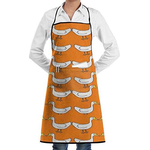 xcvgcxcvasda Einstellbare Latzschürze mit Tasche, White Geese Yellow Chef Schürze with Bib Schürze Kitchen Schürze Adjustable Extra Long Ties for Women Men BBQ Baking and Cooking-Black