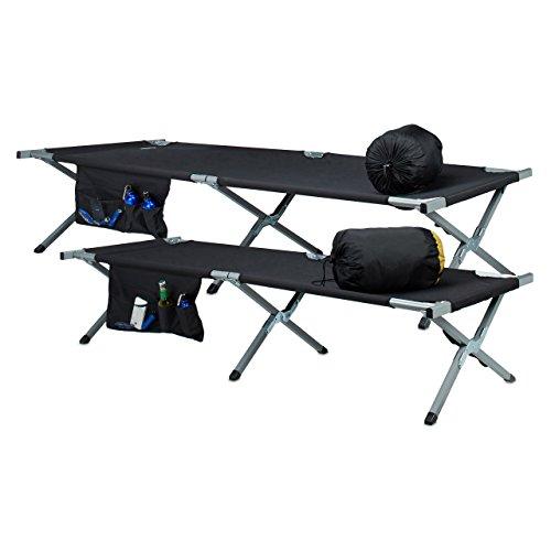 Relaxdays Feldbett, nachstellbar, ausklappbar, Aluminium, Seitentasche, Camping, schwarz-silber