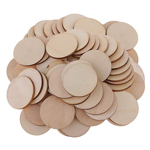 Unfertigen Holz-stücke (P Prettyia 100 Stück Kries aus Holz Holzscheiben DIY Geburtstag Hochzeit Party Dekoration Confetti Konfetti)