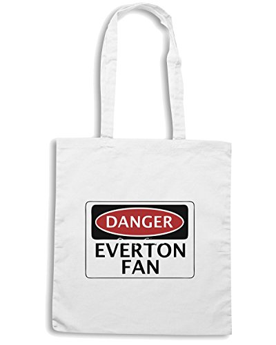 T-Shirtshock - Borsa Shopping WC0291 DANGER EVERTON FAN, FOOTBALL FUNNY FAKE SAFETY SIGN Bianco