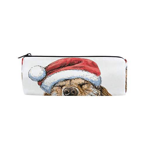 ISAOA Federmäppchen Labrador Retriever tragbare runde Stifttasche Aufbewahrungstasche Geldbörse Stifthalter Weihnachtsgeschenk für Kinder Student Offizier Reise Make-up Tasche für Frauen Mädchen -