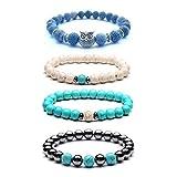 1fed45475 Glittel 4 Pcs 8 mm Budismo creer Chakra de perlas pulsera de Onyx de piedras  de