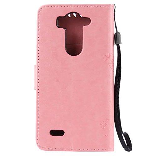 Solid Color Premium PU-Leder Tasche Cover mit Prägung Katze & Baum Muster Wallet Stand Case Soft Silikon-Abdeckung für LG G3 mini ( Color : Coffee , Size : LG G3 Mini ) Pink