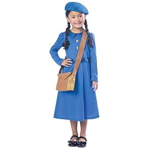 WW2 Umsiedler Mädchen Kostüm 2. Weltkrieg Büchertag Woche Kinder Kostüm - Mehrfarbig, ()