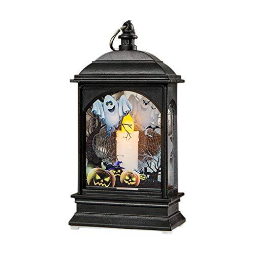 SilenceID Retro Laterne Batteriebetriebene Halloween Kürbis Hexe Geist Licht Lampe Tür Raumdekoration Party Home Requisiten Übergabe Flackern Retro Laterne -