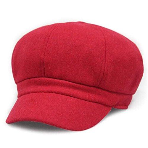 Kuyou Damen Winter Ballonmütze Schirmmütze Wolle Beret Kappe Hut (Rot)